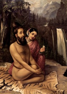 Figurative Oil Art Painting title 'Vishwamitra And Menaka' by artist Raja Ravi Varma Reproduction
