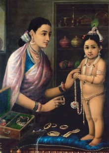 Figurative Oil Art Painting title Yashodha Adorning Krishna by artist Raja Ravi Varma Reproduction