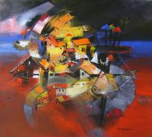 Abstract Acrylic Art Painting title Birth Of Karna by artist Sunil Bambal