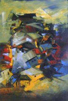 Abstract Acrylic Art Painting title Portrait Of Village by artist Sunil Bambal