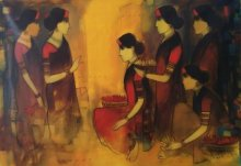 Figurative Acrylic Art Painting title 'Flower Women 11' by artist Sachin Sagare