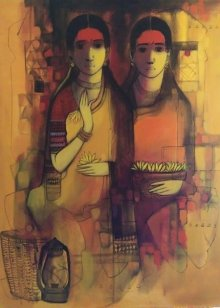 Figurative Acrylic Art Painting title 'Friends' by artist Sachin Sagare