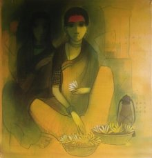 Figurative Acrylic Art Painting title 'Flower Seller 2' by artist Sachin Sagare