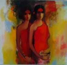 Figurative Acrylic Art Painting title 'Girls With Flowers' by artist Sachin Sagare