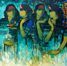 Figurative Acrylic Art Painting title 'Gossiping Women 2' by artist Sachin Sagare