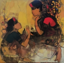 Figurative Acrylic Art Painting title 'Gossiping Women 3' by artist Sachin Sagare