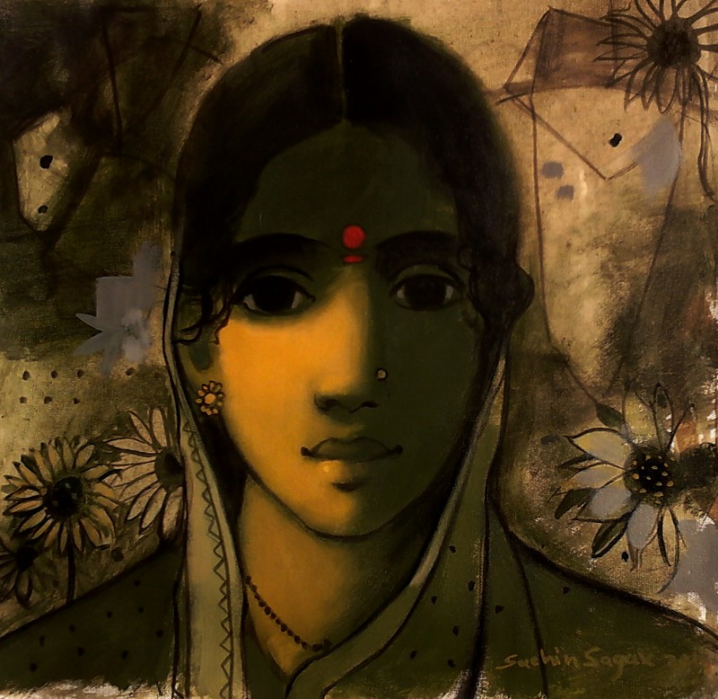 the indian woman by artist sachin sagare figurative art acrylic