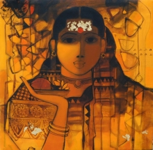 Figurative Acrylic Art Painting title 'The Indian Woman 1' by artist Sachin Sagare