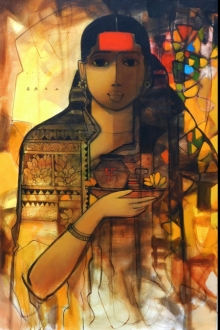Figurative Acrylic Art Painting title 'The Indian Woman 3' by artist Sachin Sagare