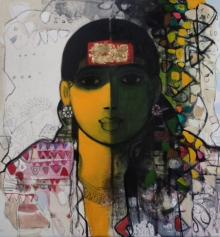 Figurative Acrylic Art Painting title 'The Indian Woman 4' by artist Sachin Sagare