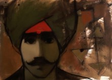 Figurative Acrylic Art Painting title 'The Turban Man' by artist Sachin Sagare