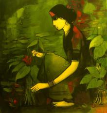 Figurative Acrylic Art Painting title 'Woman With Plant' by artist Sachin Sagare