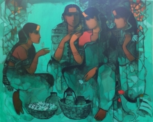 Figurative Acrylic Art Painting title 'Women In Group 2' by artist Sachin Sagare