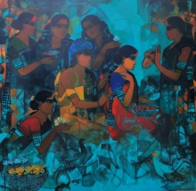 Figurative Acrylic Art Painting title 'Women In Group 5' by artist Sachin Sagare