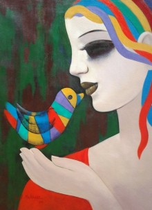 Figurative Acrylic Art Painting title Relation II by artist Anil Mahajan