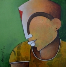 Anupam Pal | Acrylic Painting title Untitled on canvas | Artist Anupam Pal Gallery | ArtZolo.com