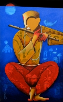 Anupam Pal | Acrylic Painting title The Mesmerizing Tunes 3 on canvas | Artist Anupam Pal Gallery | ArtZolo.com