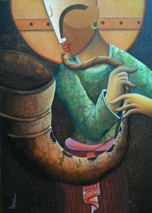 Anupam Pal | Acrylic Painting title Rhythm Devine 15 on Canvas | Artist Anupam Pal Gallery | ArtZolo.com