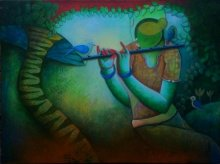 Anupam Pal | Acrylic Painting title Tunes of devotion on Canvas | Artist Anupam Pal Gallery | ArtZolo.com
