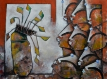 Anupam Pal | Acrylic Painting title Eternal bonding on canvas | Artist Anupam Pal Gallery | ArtZolo.com