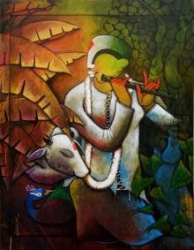 contemporary Acrylic Art Painting title 'Krishna' by artist Anupam Pal