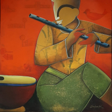 contemporary Acrylic Art Painting title 'Rhythmic Reverberations 2' by artist Anupam Pal