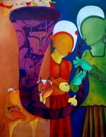 Anupam Pal | Acrylic Painting title Bansidhar on Canvas | Artist Anupam Pal Gallery | ArtZolo.com