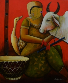 contemporary Acrylic Art Painting title 'Conversation 25' by artist Anupam Pal