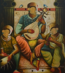 contemporary Acrylic Art Painting title 'Musical band 7' by artist Anupam Pal