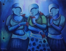 contemporary Acrylic Art Painting title Conversation 31 by artist Anupam Pal