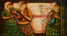 contemporary Acrylic Art Painting title 'RHYTHMIC CONVERSATION 35' by artist Anupam Pal
