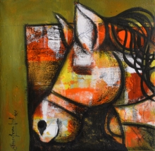 Mixed Media Painting titled 'Focus on' by artist Anupam Pal on canvas