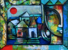 Mixed Media Painting titled 'Untitled 15' by artist Anupam Pal on canvas