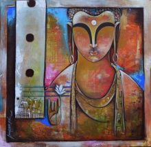 Anupam Pal | Acrylic Painting title Buddha on canvas | Artist Anupam Pal Gallery | ArtZolo.com