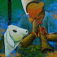 Music Acrylic Art Painting title 'The Bovine Friendship' by artist Anupam Pal