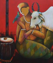 Mixed Media Painting titled 'Conversation with bird' by artist Anupam Pal on canvas