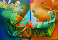 Anupam Pal | Acrylic Painting title The journey of dreams on Canvas | Artist Anupam Pal Gallery | ArtZolo.com