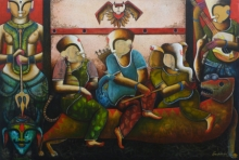 contemporary Acrylic Art Painting title Durga by artist Anupam Pal