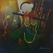 Anupam Pal Paintings | Acrylic Painting - Flute Seller 2 by artist Anupam Pal | ArtZolo.com