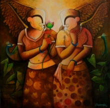 contemporary Acrylic Art Painting title Frandship by artist Anupam Pal