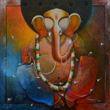 Anupam Pal | Mixed-media Painting title Ganesha on canvas
