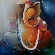 contemporary Acrylic Art Painting title 'Ganesha 25' by artist Anupam Pal