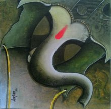 Anupam Pal | Acrylic Painting title Ganesha 2 on Canvas | Artist Anupam Pal Gallery | ArtZolo.com