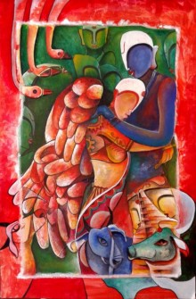 Inviolable Love | Painting by artist Anupam Pal | acrylic | Canvas