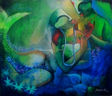 contemporary Mixed-media Art Painting title 'Underwater Romance -3' by artist Anupam Pal
