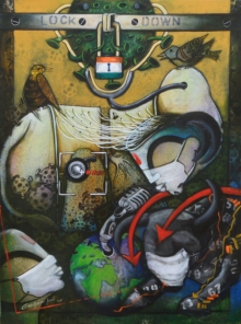Abstract Acrylic Art Painting title 'Lockdown India' by artist Anupam Pal