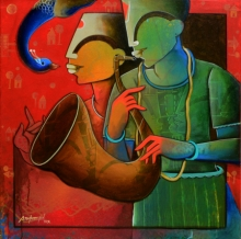 Anupam Pal | Acrylic Painting title Rhythmic Reverberations on canvas | Artist Anupam Pal Gallery | ArtZolo.com