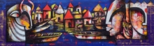 contemporary Acrylic-charcoal Art Painting title 'Banaras ghat' by artist Anupam Pal