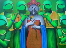 Anupam Pal | Acrylic Painting title Marrage ceremony on Canvas | Artist Anupam Pal Gallery | ArtZolo.com