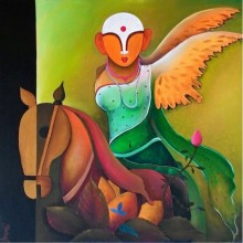 Mother Earth | Painting by artist Anupam Pal | acrylic | Canvas
